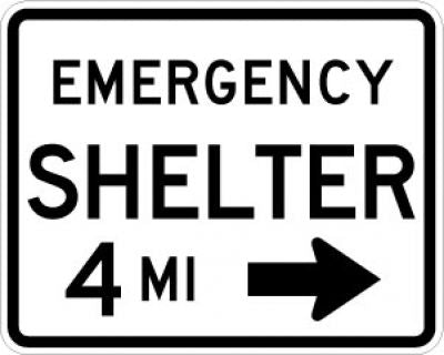 EM-7aR Emergency Shelter Distance Right Arrow