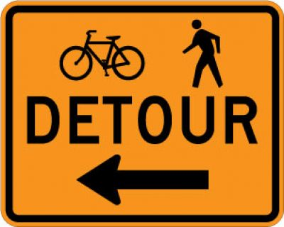 M4-9aL Bicycle Pedestrian Detour (Left Arrow)
