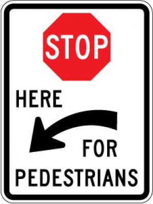 R1-5cL (Stop) Here (Left Arrow) For Pedestrians