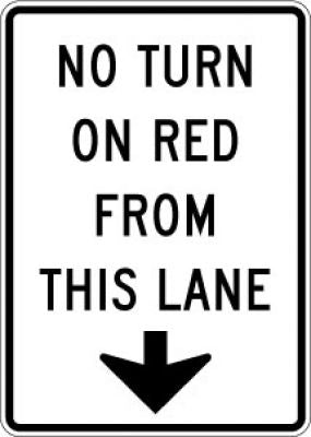 R10-11d No Turn On Red From This Lane (Down Arrow)
