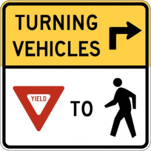 R10-15R Turning Vehicles (Arrow) --- (Yield) To (Ped)