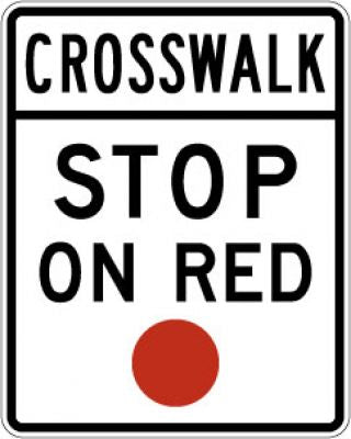R10-23 Crosswalk --- Stop On Red (Red Circle)
