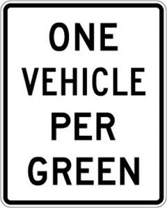 R10-28 One Vehicle Per Green