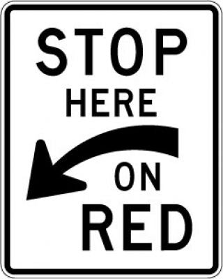 R10-6a Stop Here (Curved Arrow) On Red