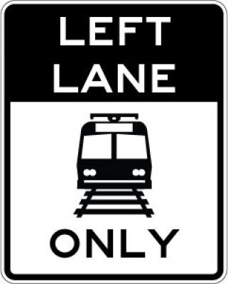 R15-4b Left Lane (Light Rail Symbol) Only