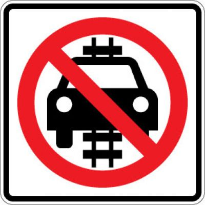 R15-6 No Motor Vehicles On Tracks Symbol