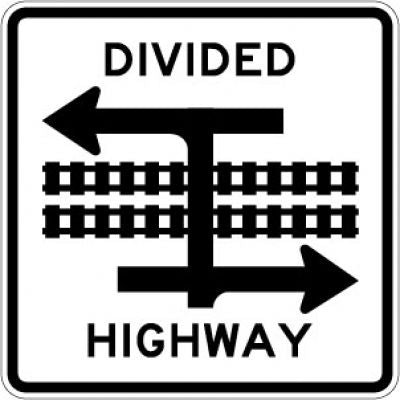 R15-7a Divided Highway With Light Rail Transit Crossing (T)