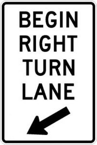 R3-20R Begin Right Turn Lane (Arrow)