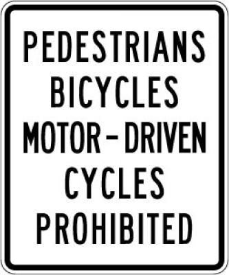 R5-10a No Pedestrians Bicycles Motor - Driven Cycles