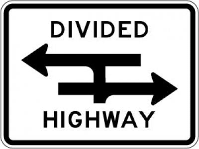 R6-3a Divided Highway Crossing (T)