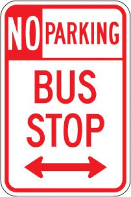 R7-107D No Parking Bus Stop (Double Arrow)