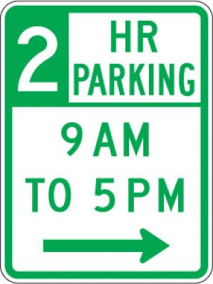 R7-108R 2 Hr Parking (Time) (Right Arrow)- Customizable