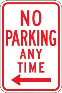 R7-1L No Parking Any Time (Left Arrow)