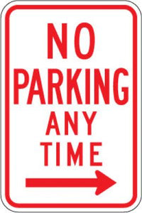 R7-1R No Parking Any Time (Right Arrow)