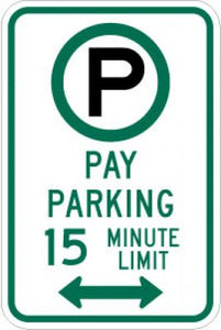 R7-21aD (Symbol) Pay Parking 15 Minute Limit (Double Arrow)