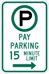 R7-21aR (Symbol) Pay Parking 15 Minute Limit (Right Arrow)