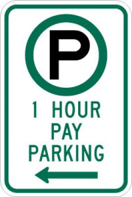 R7-21L (Symbol) 1 Hour Pay Parking (Left Arrow)