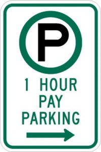R7-21R (Symbol) 1 Hour Pay Parking (Right Arrow)