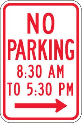 R7-2aR No Parking (Time) (Right Arrow)- Customizable