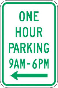 R7-5L One Hour Parking (Time) (Left Arrow)