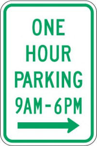 R7-5R One Hour Parking (Time) (Right Arrow)