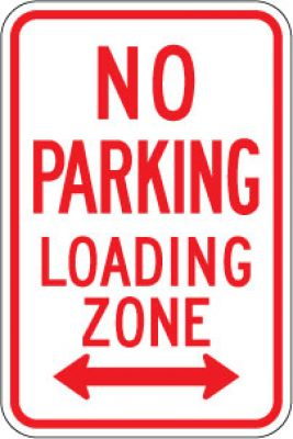 R7-6D No Parking Loading Zone (Double Arrow)