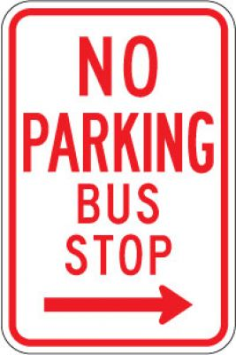 R7-7R No Parking Bus Stop (Right Arrow)