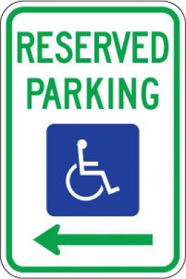 R7-8L Reserved Parking (Handicapped Symbol) (Left Arrow)