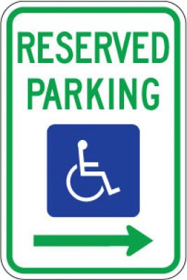 R7-8R Reserved Parking (Handicapped Symbol) (Right Arrow)