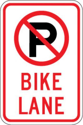 R7-9a (No Parking Symbol) Bike Lane
