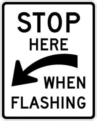 R8-10a Stop Here (Arrow) When Flashing