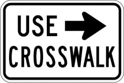 R9-3bR Use (Right Arrow) Crosswalk