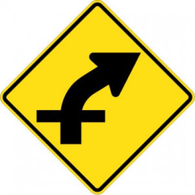 W1-10aR Combo Right Curve / Cross Road