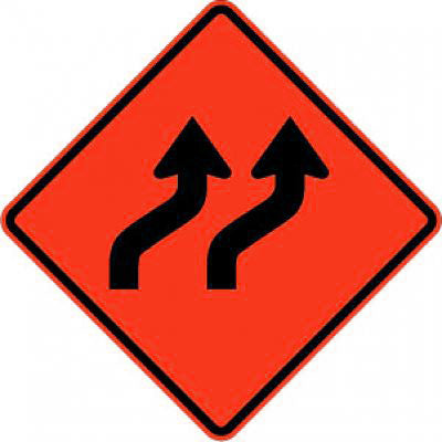 W1-4bR Two Lane Reverse Curve Right