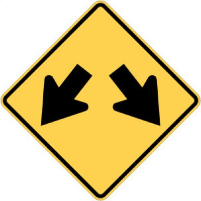 W12-1 Double Arrow Sign (Down)
