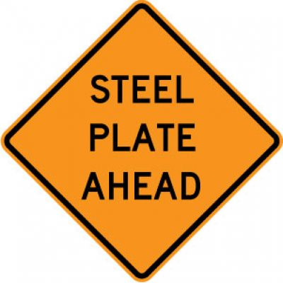 W8-24 Steel Plate Ahead
