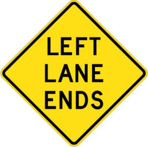 W9-1L Left Lane Ends
