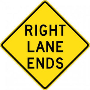 W9-1R Right Lane Ends