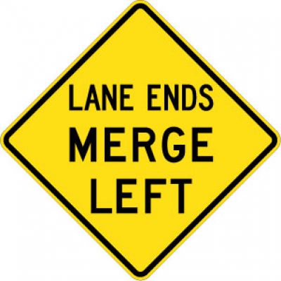 W9-2L Lane Ends Merge Left
