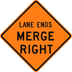 W9-2R Lane Ends Merge Right