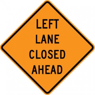 W9-3L Left Lane Closed Ahead