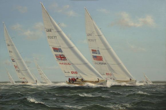 REGATTA RACING IN AUSTRALIA.  PAINTING BY RICHARD FIRTH 2012  -  SKU187
