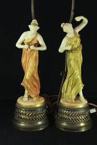 "PAIR OF ROYAL WORCESTER FEMALE FIGURES ""DANCE"" & ""MUSIC"" LAMPS  -  SKU316"