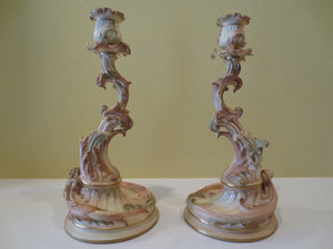 PAIR OF ROYAL WORCHESTER CANDLESTICKS  -  SKU224