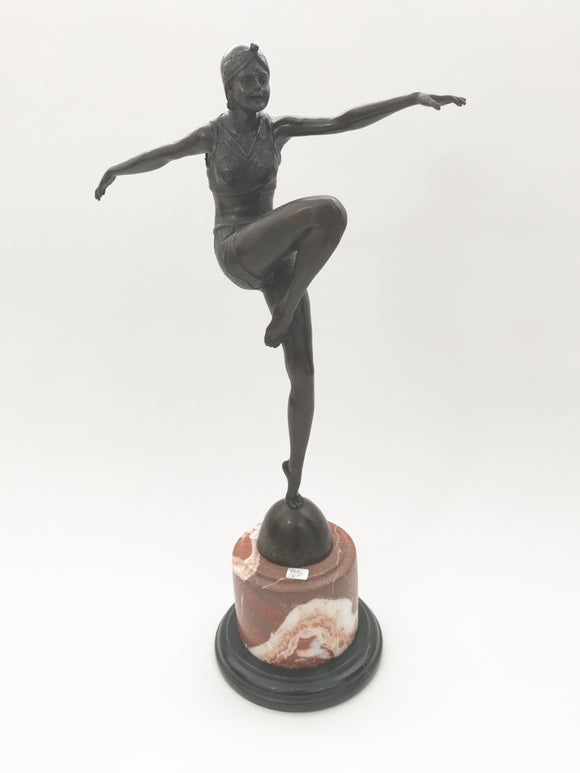 ART DECO STYLE BRONZE WOMAN FIGURINE  -  SKU966