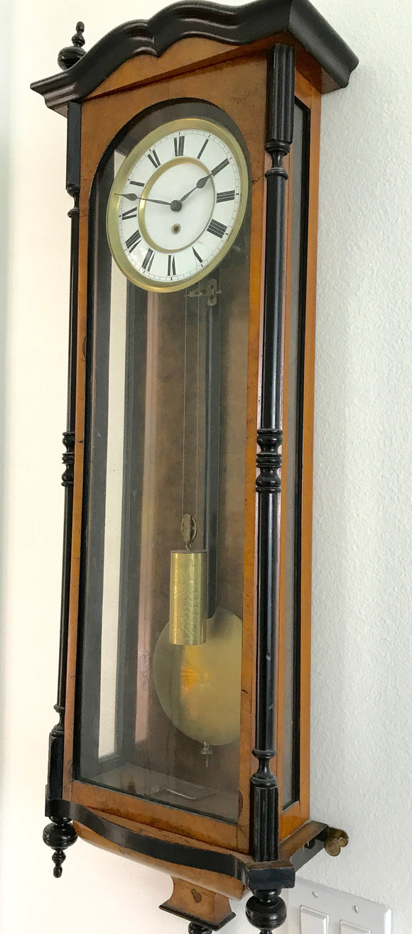 VICTORIAN WALNUT WALL CLOCK CIRCA 1880  -  SKU986