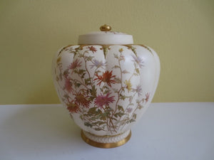 ROYAL WORCESTER LARGE STUART ROSE JAR WITH LID  -  SKU225