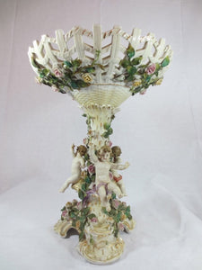 VICTORIAN PORCELAIN COMPORT WITH FIGURINES  -  SKU244