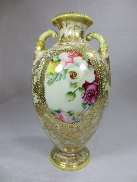 NIPPON VASE WITH GOLD TRIM AND FLOWERS  -  SKU232