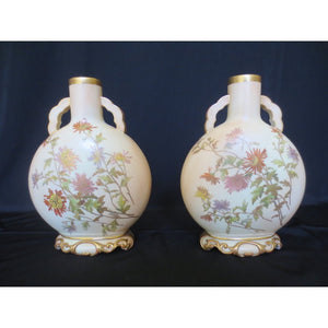 PAIR OF ROYAL WORCESTER MOON FLASK VASES  -  SKU287